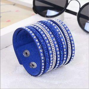 Jewelry - ⚡️• B l u e Crystal Vegan Leather Bracelet • ⚡️